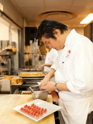 Sous chef preparing nigiri sushi