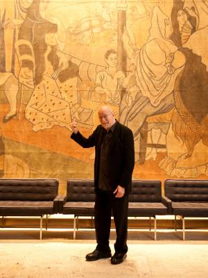 Lois with stage curtain painted by Picasso
