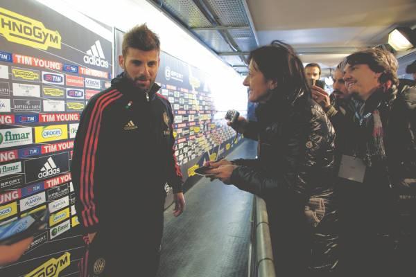 Alessandra Bocci interviews AC Milan midfielder Antonio Nocerino