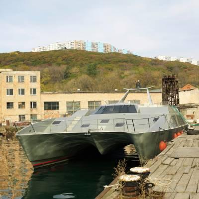 Luxury catamaran in old military docks