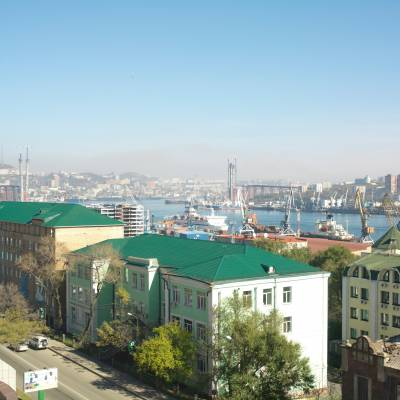 View towards the port of Vladivostok