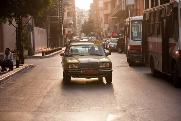 Taxi at sundown in Hamra area