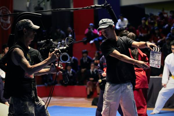 The camera crew get to work