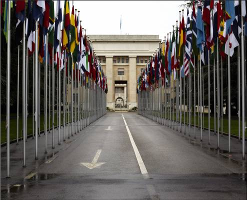 Flags line the road to the UN building
