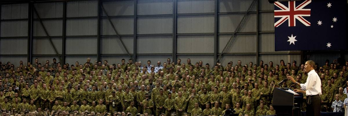 US President Barack Obama addresses Australian troops and US Marines at RAAF Base Darwin on 17 November 2011