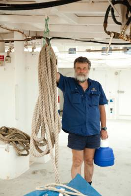 Worker at Darwin's prawn and pearling fleet in Frances Bay