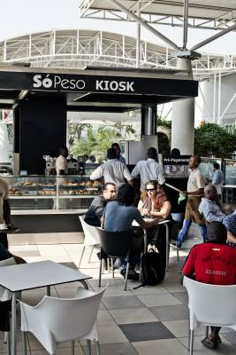 Outdoors café at one of only a handful of shopping malls
