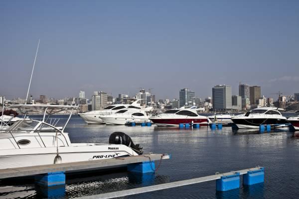 Million dollar boats docked at the marina