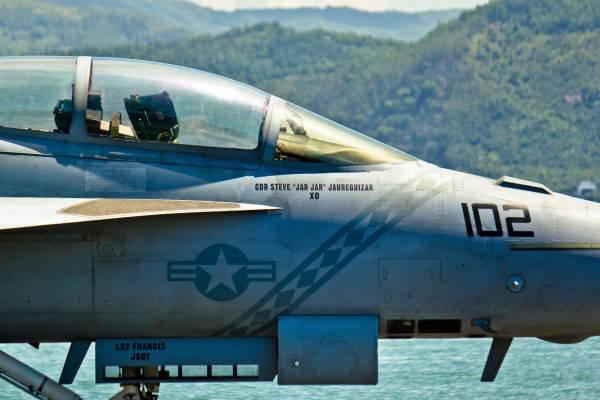 Cockpit of an F/A-18 'Super Hornet' fighter aircraft