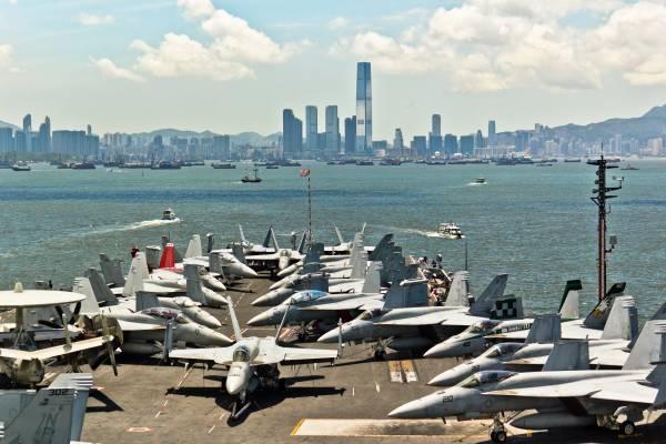 A packed flight deck