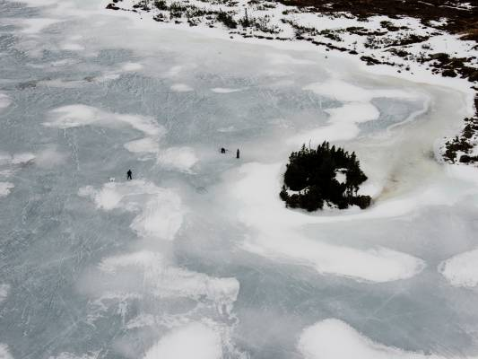 Fishing on the frozen lakes
