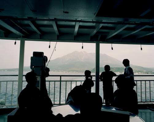 Aboard the ferry to Sakurajima