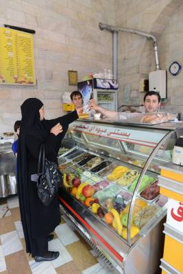 An ice-cream parlour off Molavi street