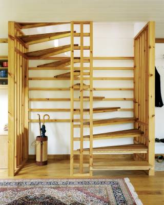 The staircase, which is made from pine and oak