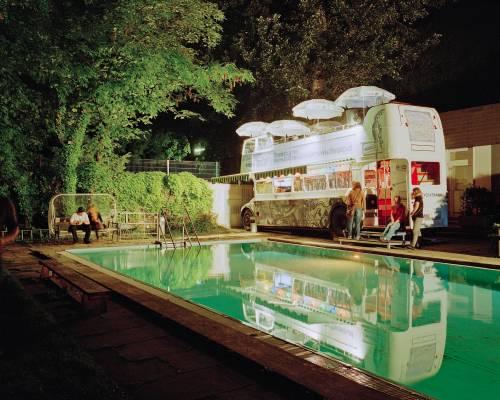 Pratersauna pool at night