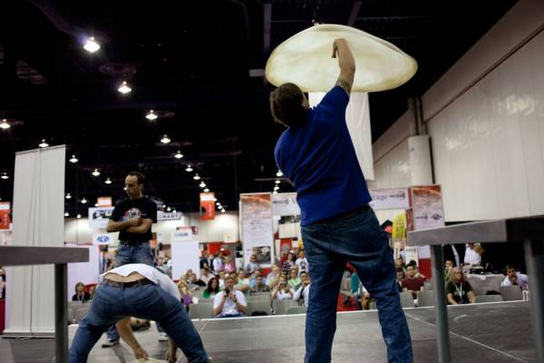 World Pizza Games' dough stretching
