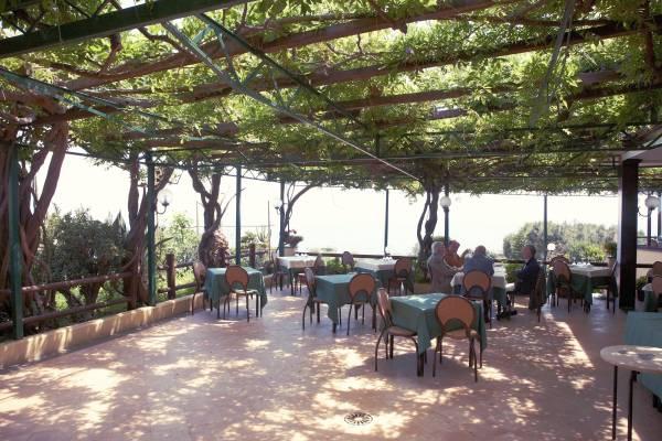 The vine-infested terrace at Ristorante Rosiello