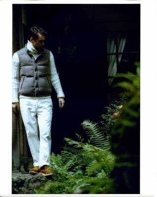Vest by Brunello Cucinelli, jumper by Boss Selection, trousers by Polo Ralph Lauren, shoes by Mainland Boots for Nepenthes