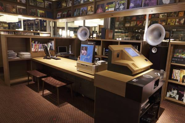 The shop's jazz section sports audio equipment by McIntosh