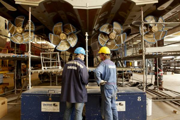 Workers in the shipyard