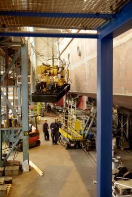 Hoisting a ship engine aboard