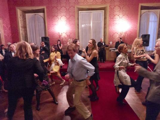 Rome's art establishment takes to the dance floor at a Monday night art opening at the Fondazione Roma