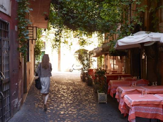 The narrow streets of Trastevere, one of Rome's most picturesque 'rioni' (neighbourhoods)