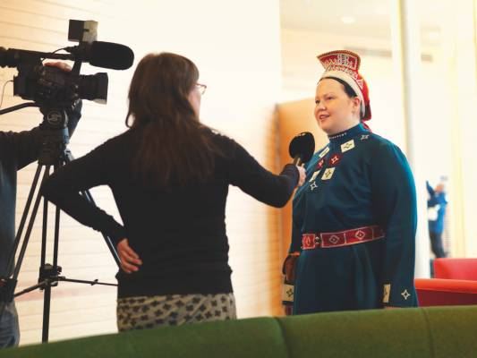 Tiina Sanila-Aikio, member of the Finnish Sámi parliament, being interviewed