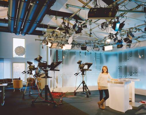 Jaana Nittyvuopio, at the studios of Norwegian public broadcaster nrk in Karasjok