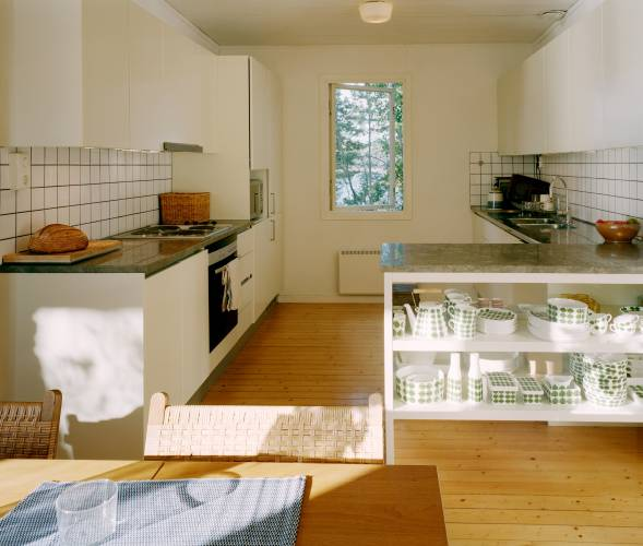 The open-plan kitchen