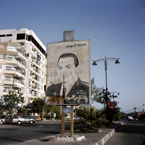 Picture of recently deposed president Hosni Mubarak in Port Fouad