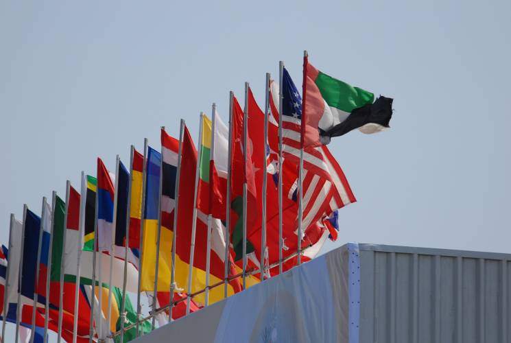 Flags of participating countries at IDEX