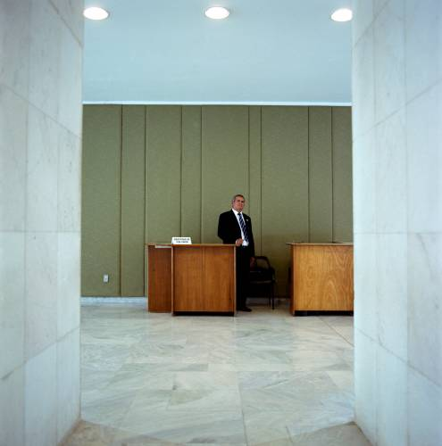 Security guard outside Celso Amorim's office