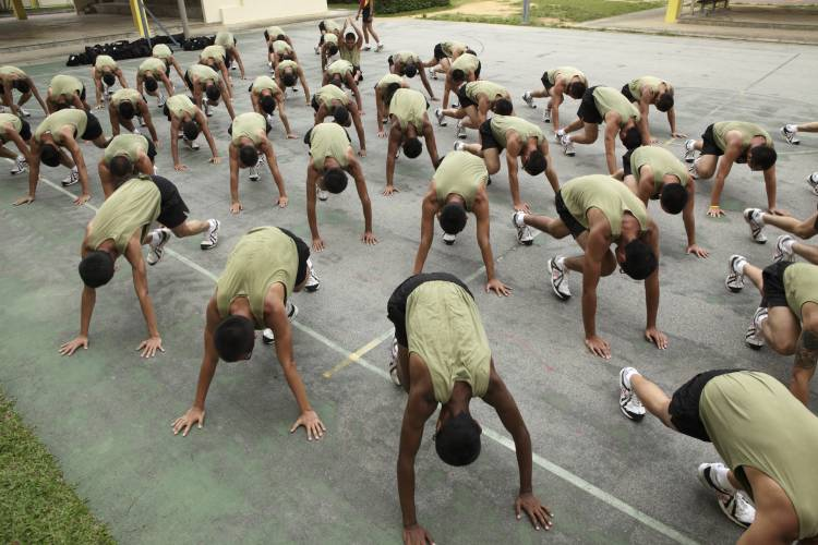 Basic military training at Palau Tekong
