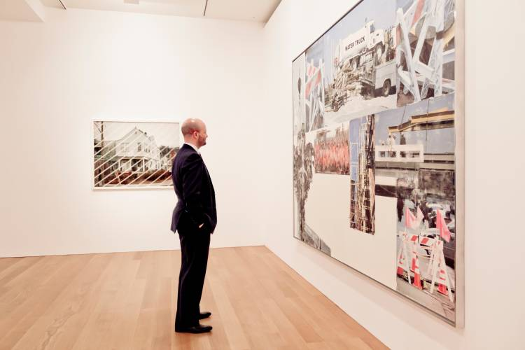 Renfrew looks at exhibit at the Gagosian Gallery