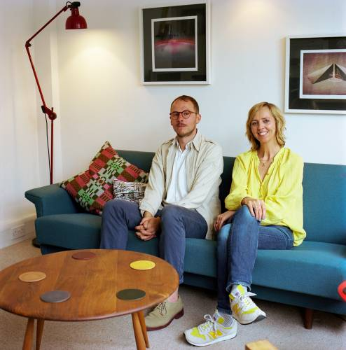 Office 4 (not to Scale, London): O'Rourke and Thomas on the sofa bed
