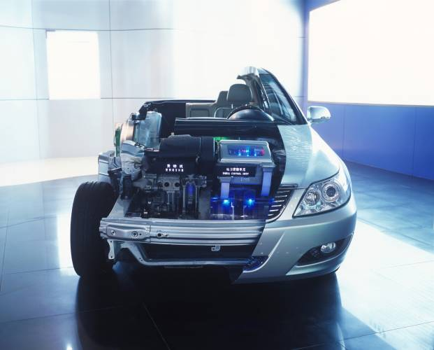 A BYD hybrid car displayed in the showroom in Shenzhen