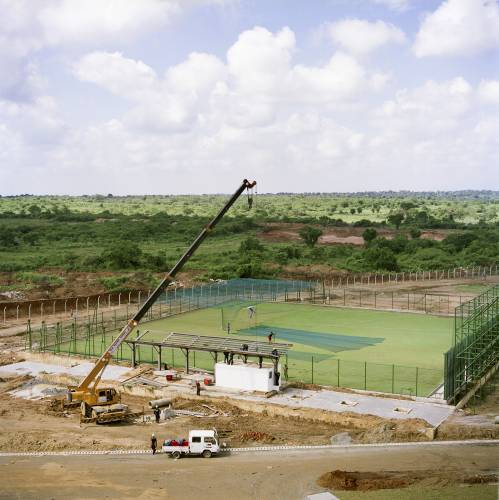 The cricket stadium under construction