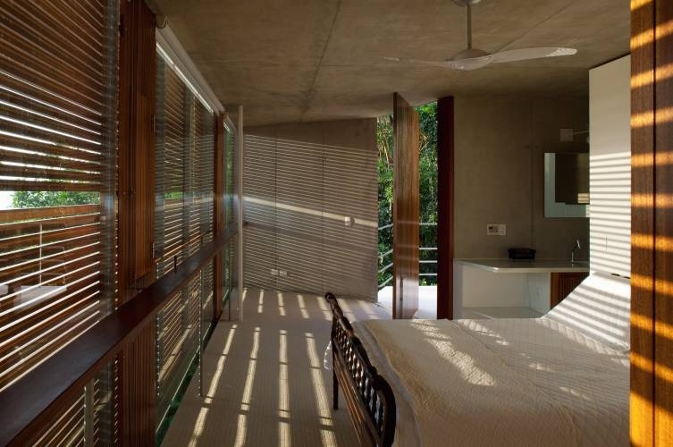 Main bedroom with wooden blinds