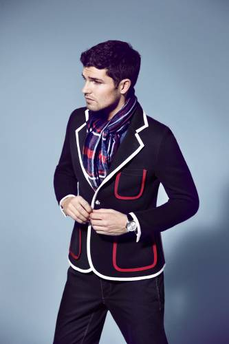Jacket by Black Fleece by Brooks Brothers, polo shirt by Lacoste, trousers by Boglioli, scarf by Allea, watch by Omega