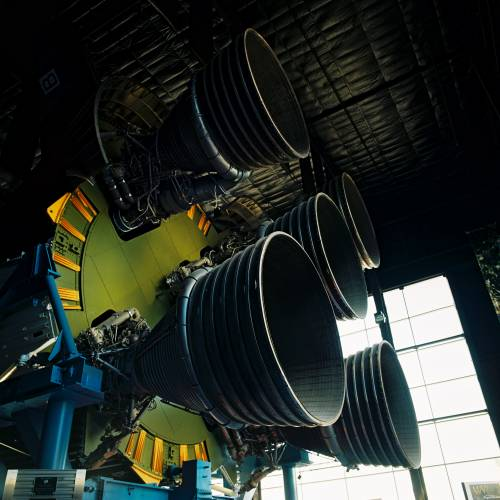 Engines of the Saturn V Rocket inside the US Space and Rocket Center