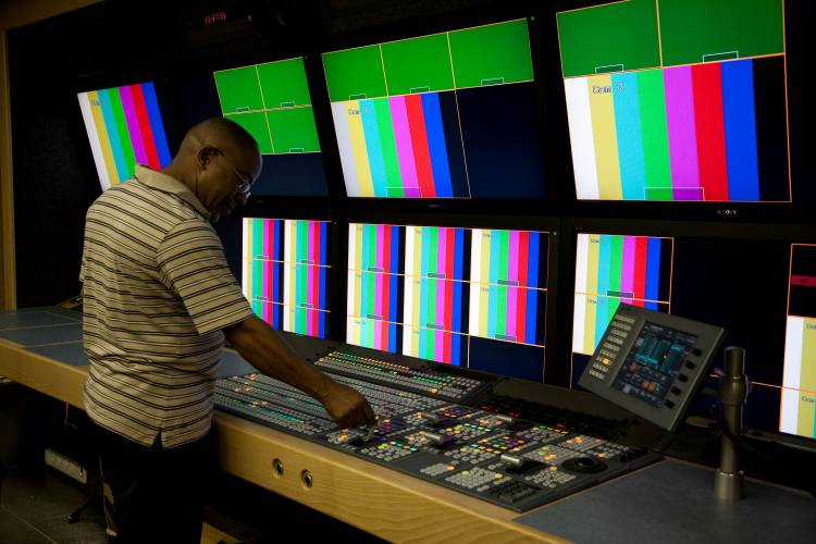 A technician in SABC's new High Definition Outside Broadcast truck