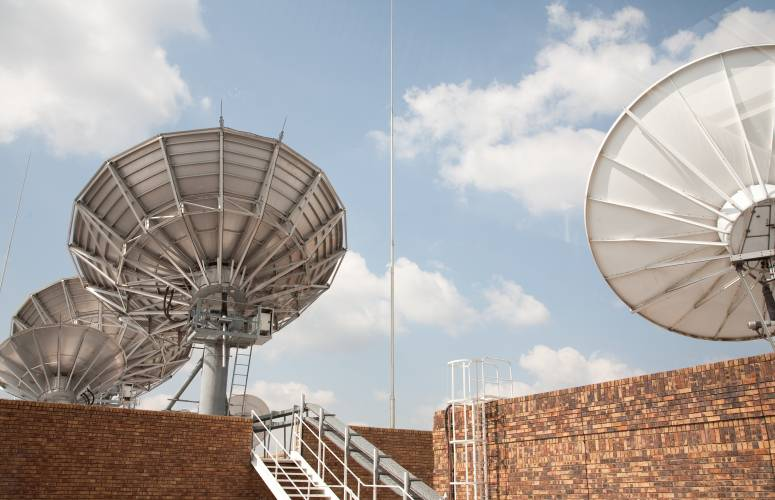 Satellite dishes outside SuperSport's studios in Johannesburg