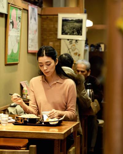Polo shirt by Bottega Veneta, trousers by Charli London for United Arrows, purse by Marni Summer Edition  **For a post-work treat:**   Cold soba noodles with tempura at Yabu Chu in Shibamata