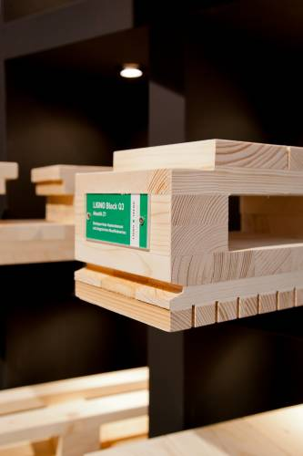 Lignotrend's soundproof wood is integrated into a wall's design