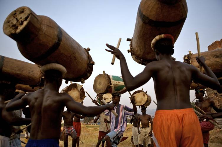 Drummers rehearse on the outskirts of Bujumbura