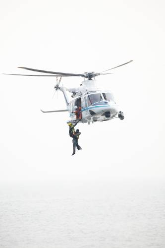 Hoist-rescue demonstration by a JCG helicopter