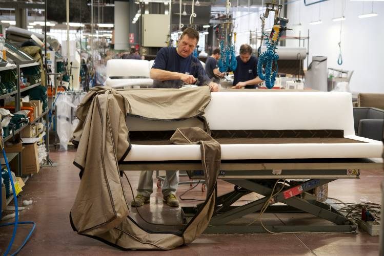 Inside the bustling upholstery department
