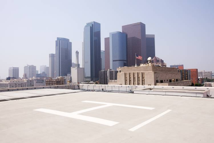 Helicopter pad at LAPD headquarters