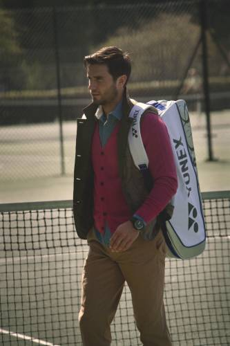 vest by Sophnet., cardigan by The Inoue Brothers, shirt by Folk, trousers by Ralph Lauren, watch by IWC,  racquet bag by Yonex